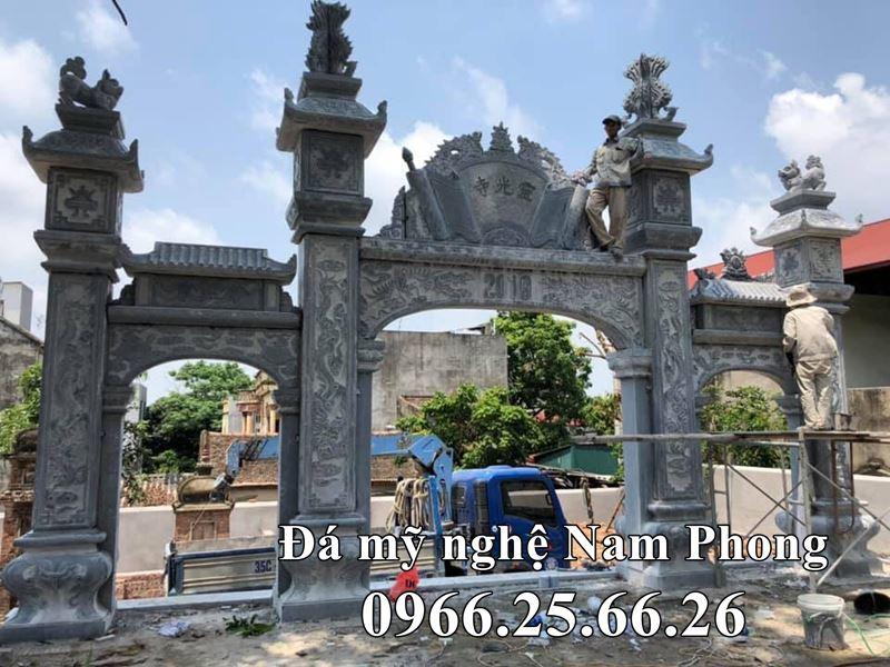 Lắp đặt Cổng đá Tam Quan - Mẫu Cổng đá đẹp Đình Chùa, Bảo điện, Từ đường, Nhà thờ họ.